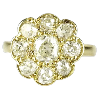 Vintage Diamond Daisy Engagement Ring 2.0 carats Old Cut Diamonds Anniversary Ring Size 6.5 (US) or M (UK)