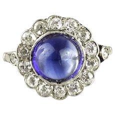 Art Deco Sapphire Diamond Engagement Ring Old European Cut Diamond Halo Blue Cabochon Promise or anniversary