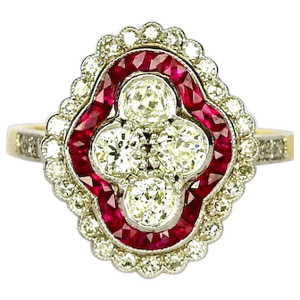 Vintage Art Deco Style Ruby Diamond Ring Old Cut Diamonds Engagement / Anniversary Ring
