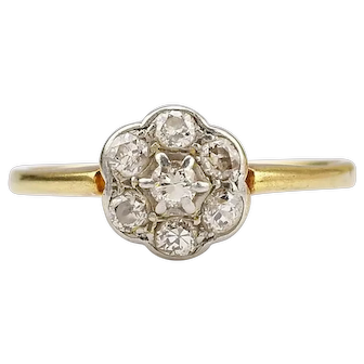 Vintage Diamond daisy Cluster Ring for Engagement or Anniversary