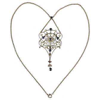 Antique Edwardian Sapphire Cultured Seed Pearl Necklace