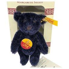 Adorable Little Steiff Navy Blue Mohair Original Teddy Bear Mint with Box and All ID