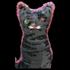 Early Well-Loved Velveteen Black Cat - Red Tag Sale Item