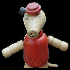 Vintage Jaymar Little Pig Jointed Wooden Toy - Red Tag Sale Item