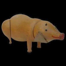 Vintage Carved Wood Pig