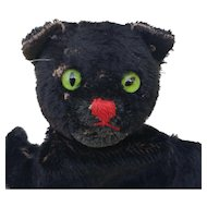 Vintage Steiff Black Cat Hand Puppet with Button