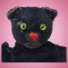 Vintage Steiff Black Cat Hand Puppet with Button