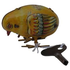Nice Early German Clockwork Key Wind Up Tin Litho Chick with Original Key