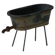 Old Painted Tin Miniature Doll Tub for Dollhouse