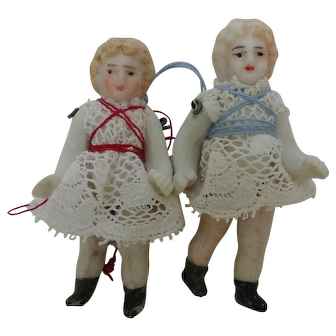 Pair of Teeny Tiny German All Bisque Sister Dolls