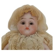 Sweet Little German Glass Eye All Bisque Dollhouse Doll