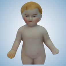 Adorable Early German Painted All Bisque Frozen Charlie Doll