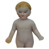 Fabulous Early German Painted All Bisque Frozen Charlie Doll