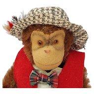 Vintage Dapper Mohair Steiff Monkey