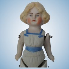 Antique All Bisque German Doll with Molded Clothes