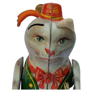 Vintage German Tin Litho Wind Up Puss n Boots Toy