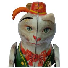 Vintage German Tin Litho Wind Up Puss n Boots Toy - Red Tag Sale Item