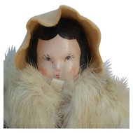 Sweet Vintage Ruth Gibbs China Doll in Winter Outfit
