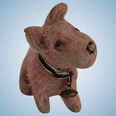 Rare Steiff Pink Mohair Sealyham Dog in Seated Position Pre-War with FF Button