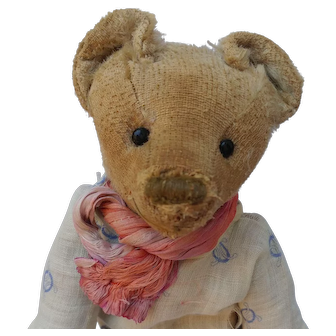 Worn And Well Loved Early Teddy Bear -- Smiley