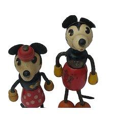Vintage 1930's Disney Mickey and Minnie Mouse Fun-E-Flex Wood Doll Toys