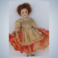 Lovely Petite All Bisque Dollhouse Doll with Blue Glass Eyes