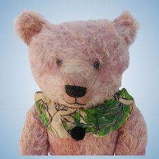 "Well Loved but Glorious 24"" Pink Mohair Vintage Teddy Bear"