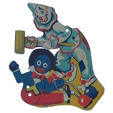 Nice Vintage Tin Litho German Mechanical Clicker Penny Toy with Gollywog
