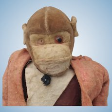 Early Worn Out Monkey Made of Felt Velveteen and Cloth