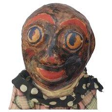 Fabulous Black Americana Cloth Minstrel Man Rag Doll with Papier Mache Head