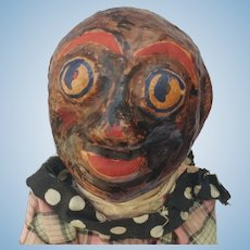 Fabulous Black Americana Cloth Minstrel Man Rag Doll with Papier Mache Head