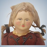 Lovely Old Cloth Doll with Painted Face and Wonderful Clothes