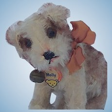 Adorable Little Vintage Steiff Mohair Molly Dog