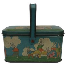 Adorable Vintage Tin Litho Peter Rabbit Candy Pail by Tindeco