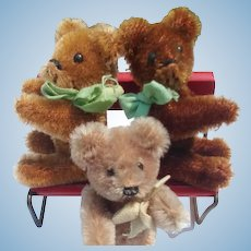 Adorable Lot of 3 Vintage Schuco Tiny Teddy Bears
