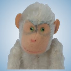 Sweetest Little Steiff Vintage White Mohair Monkey No ID