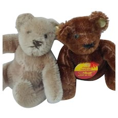 Pair of Adorable Little Steiff Mohair Bendy Teddy Bears
