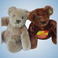 Pair of Adorable Little Steiff Mohair Bendy Teddy Bears