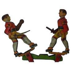 Early Kellermann CKO German Tin Litho Penny Toy Dueling Sword Fighters