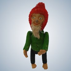 Comical Little Vintage 1920's Schuco Yes No Dwarf Elf Gnome in Christmas Colors