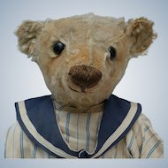 "Worn But Wonderful Early 16"" Center Seam Steiff Teddy Bear with Blank Button"