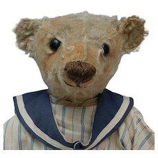 "Worn But Wonderful Early 16"" Center Seam Steiff Teddy Bear with Blank Button"