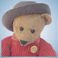 Wonderful Early Well Loved Mohair Teddy Bear Wearing Nice Early Sweater
