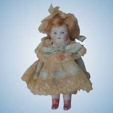 So Sweet Kestner All Bisque Dollhouse Doll with Painted Eyes