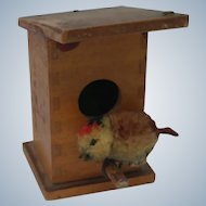 Imperfect Vintage Steiff Wooden Birdhouse with Pom Pom Woolen Bird