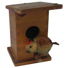 Imperfect Vintage Steiff Wooden Birdhouse with Pom Pom Woolen Bird