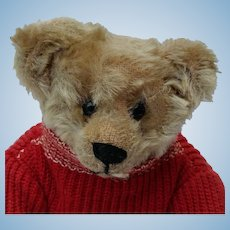 Adorable Antique Early American Teddy Bear Wearing Nice Early Sweater