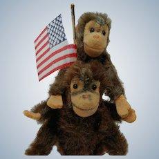 Pair of Adorable Little Steiff Vintage Mohair Monkey Toys No ID