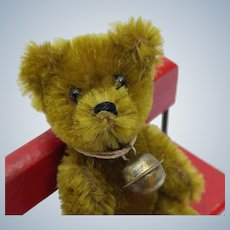 Super Cute Vintage Golden Olive Mohair Schuco Teddy Bear