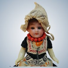 Sweet Little AM Bisque Swivel Neck Doll In Original Regional Costume